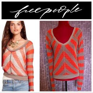 We The Free   Orange & Taupe Chevron Sweater